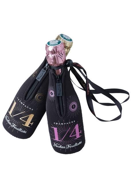 DU CHAMPAGNE. Un 1/4 de bouteille de champagne brut ou rosé Nicolas Feuillatte dans sa pochette de transport. 14,90€