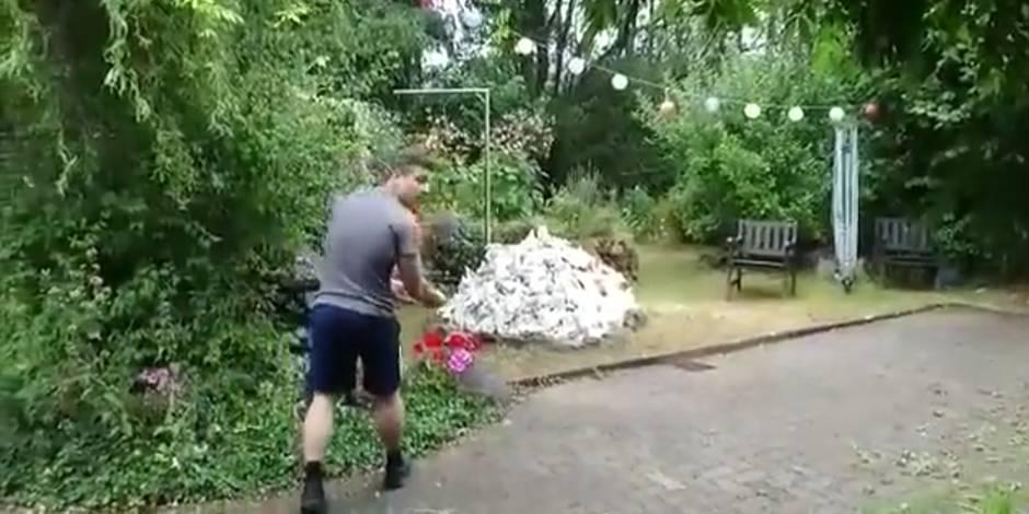 Il fait exploser son jardin en br lant un tas de papier video la dh - Faire du feu dans son jardin ...