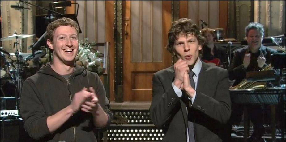 Facebook founder Mark Zuckerberg is a surprise guest on ' Saturday Night Live', meeting actor Jesse Eisenberg nominated for an Academy Award for playing him in 'The Social Network'