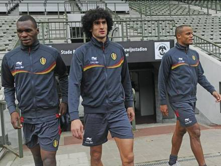BRUSSELS, BELGIUM - OCTOBER 8: Christian Benteke, Marouane Fellaini and Vincent Kompany pictured during a training session prior to the World Cup 2014 Qualification match against Serbia on October 8, 2012 in Brussels, Belgium. (Photo by Peter De Voecht/Photonews