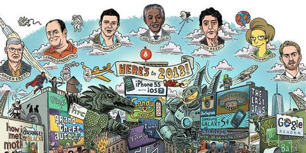 Miley Cyrus, Nelson Mandela, Daft Punk, GTA V: Toute la pop culture de 2013 en un dessin - La DH
