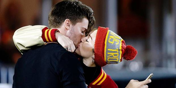 Miley Cyrus and Patrick Schwarzenegger sighting at USC football game, in a suite near the field. And their affection for each other was in full display. The USC Trojans were playing against the CAL Bears, at the Los Angeles Memorial Coliseum, on November 13, 2014.  <p> Pictured: Miley Cyrus and Patrick Schwarzenegger </p>  <p><b>Ref: SPL890017 131114 </b><br /> Picture by: Charles Baus/EduStarts/Splash< PICTURE NOT INCLUDED IN THE CONTRACTS *** local caption *** World Rights</p>