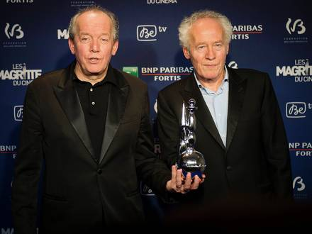 20150207 - BRUSSELS, BELGIUM: Best Directors brothers Jean-Pierre and Luc Dardenne pictured during the fifth edition of the Magritte du Cinema awards ceremony, Saturday 07 February 2015, in Brussels. The awards are rewarded to movies of Belgian French-speaking producers. BELGA PHOTO LAURIE DIEFFEMBACQ
