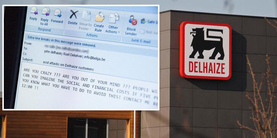 """Attaque à l'acide: Delhaize a reçu plusieurs mails de menaces, """"une femme et deux enfants"""" ciblés à Charleroi"""