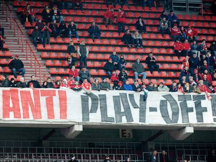 LIEGE, BELGIUM - APRIL 6: illustration picture of tifo anti play off in action during the Jupiler League Playoffs 1 match between Standard de Liege and RSC Anderlecht on April 6, 2013 in Liege, Belgium. (Photo by Vincent Kalut - Philippe Crochet/Photonews