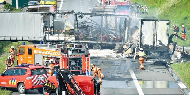 Un chauffeur brûlé vif sur l'E19 paralysée pendant plusieurs heures - La DH