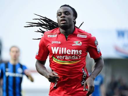 Lukaku Jordan defender of Oostende pictured during the Jupiler Pro League Play-off 1 match between KV Oostende and Club Brugge KV in Schierevelde stadium in Roeselare Belgium. *** ROESELARE BELGIUM - 02/04/2016 Photo by Philippe Crochet / Photo News