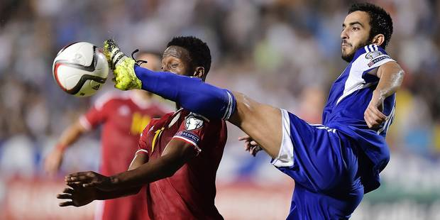 Origi Divock of Belgium in action with Kostas Laifis defender of Cyprus during the international qualifying group B match for the UEFA European Championship EURO 2016 in France between Cyprus and Belgium in Nicosia, Cyprus *** NICOSIA, CYPRUS - 6/09/2015 Photo by Nico Vereecken / Photo News ***