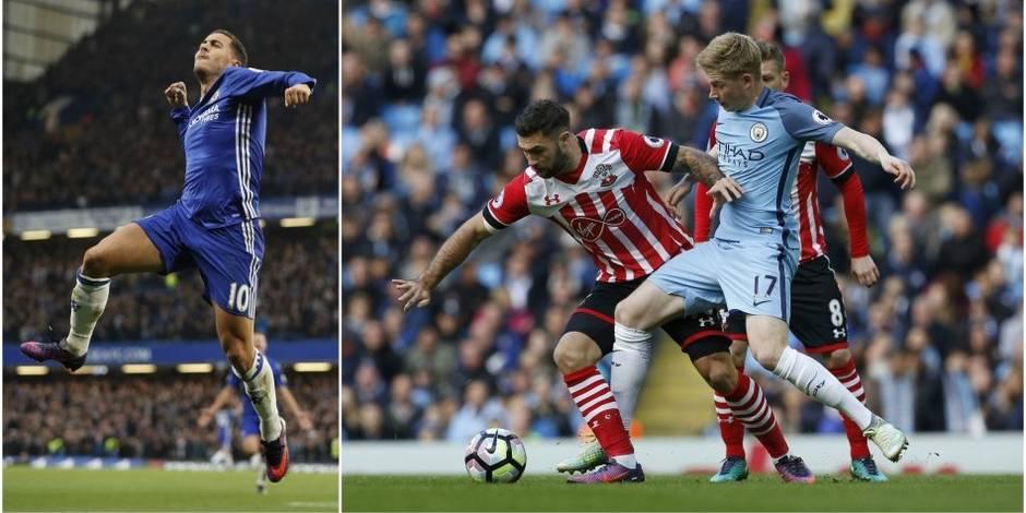 Belges à l'étranger: Eden Hazard buteur contre ManU, De Bruyne blessé (VIDEO)