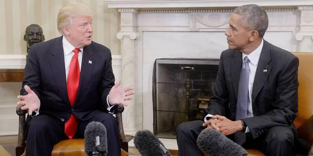 """Pour Obama, Trump est un """"pragmatique"""" qui devrait préserver les accords internationaux - La DH"""