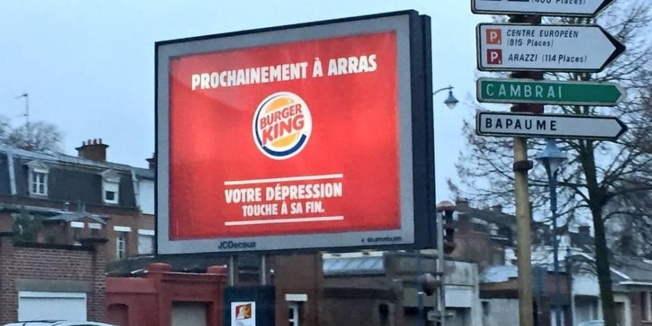 Une affiche publicitaire de Burger King fait polémique à Arras