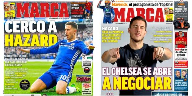 Hazard en Une de Marca ces deux derniers jours: il aurait des contacts avec le Real Madrid - La DH