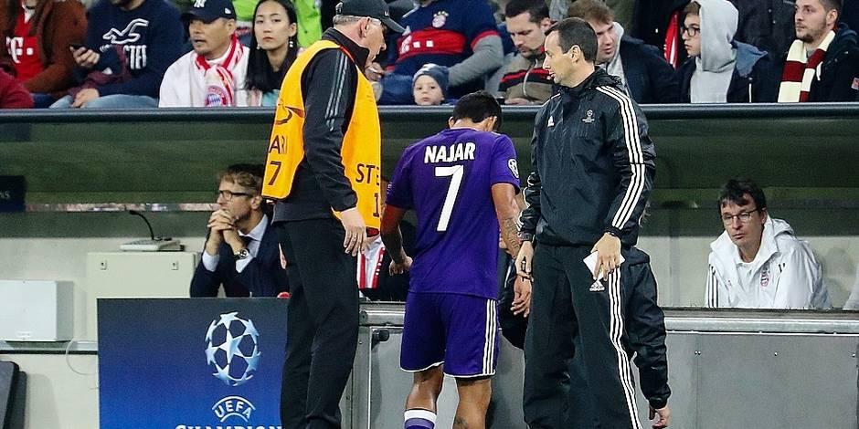 Anderlecht: Najar opéré et absent 2,5 mois?
