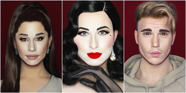 Ariana Grande, Dita Von Teese, Justin Bieber : ce make-up artist se transforme en n'importe quelle star - La DH