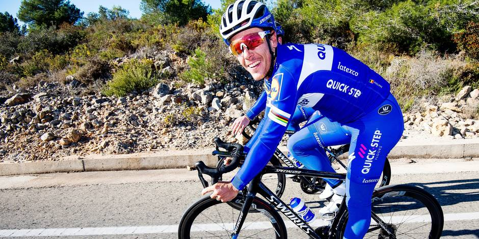Belgian Philippe Gilbert of Quick-Step Floors pictured in action during a training session of Belgian cycling team Quick-Step Floors, in Calpe, Spain, Tuesday 09 January 2018. BELGA PHOTO JASPER JACOBS