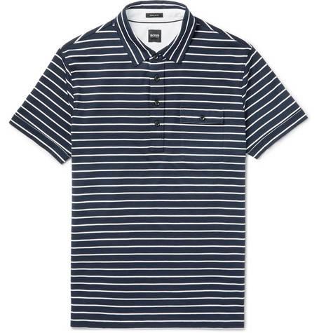 Hugo Boss, Striped Cotton-Jersey Polo Shirt,      140 euros.