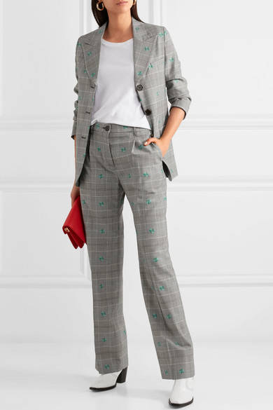 AlexaChung. Embroided Checked Wool-blend Wide-leg Pants.            435 euros
